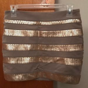 Beige and Gold Sequin Banded Mini Skirt